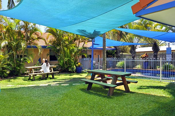 Enjoy the sheltered BBQ area at Yamba Twin Pines Motel